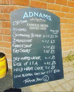Adnams beer at The Greyhound